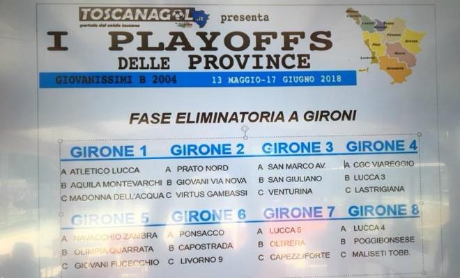 Sorteggiati Gli OTTO Gironi Del Tornei I PLAYOFFS DELLE PROVINCE